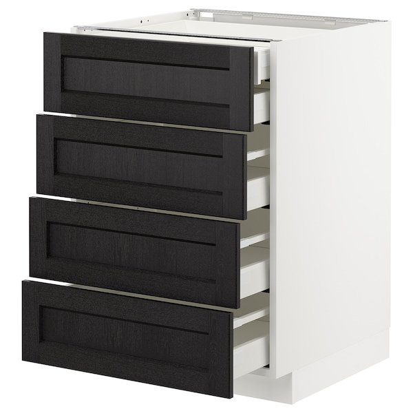 METOD Base cb 4 frnts/2 low/3 md drwrs, white Maximera/Lerhyttan black stained, 60x60x80 cm