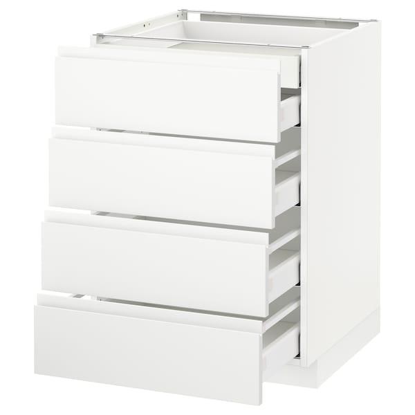 METOD Base cb 4 frnts/2 low/3 md drwrs, white Maximera/Voxtorp matt white, 60x60x80 cm