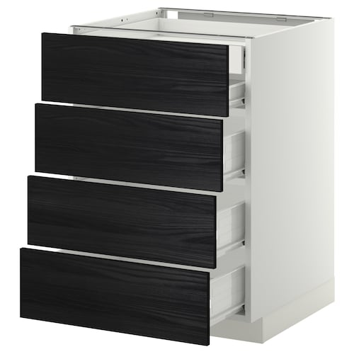 METOD base cb 4 frnts/2 low/3 md drwrs white Förvara/Tingsryd black 60.0 cm 61.6 cm 60.0 cm 80.0 cm