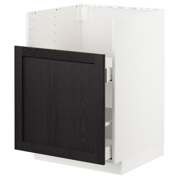 METOD Bc f BREDSJÖN snk/1 frnt/2 drws, white/Lerhyttan black stained, 60x60 cm