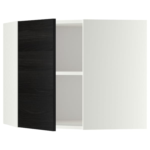 METOD Corner wall cabinet with shelves, white/Tingsryd black, 68x37x60 cm