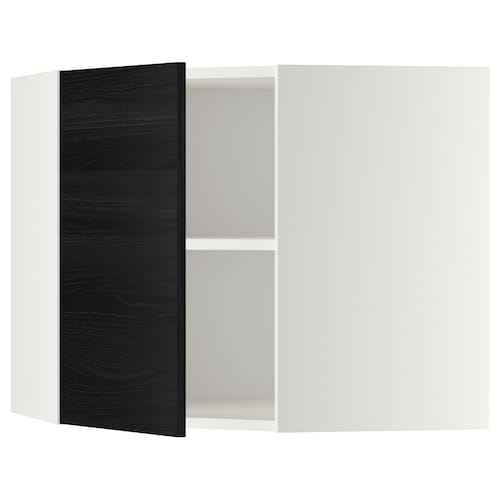 METOD corner wall cabinet with shelves white/Tingsryd black 67.5 cm 37.0 cm 67.5 cm 60.0 cm