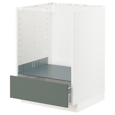 METOD / FÖRVARA Base cabinet for oven with drawer, white/Bodarp grey-green, 60x60x80 cm