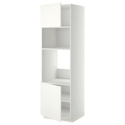 METOD Hi cb f oven/micro w 2 drs/shelves, white/Häggeby white, 60x60x200 cm