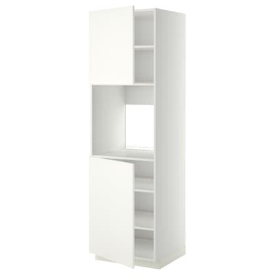 METOD High cab f oven w 2 doors/shelves, white/Häggeby white, 60x60x200 cm