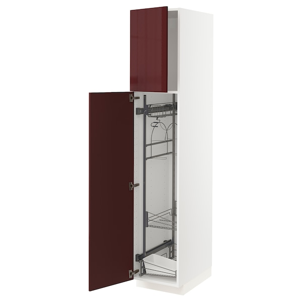 METOD High cabinet with cleaning interior, white Kallarp/high-gloss dark red-brown, 40x60x200 cm
