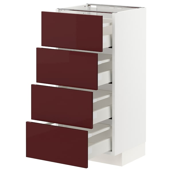 METOD / MAXIMERA Base cab 4 frnts/4 drawers, white Kallarp/high-gloss dark red-brown, 40x37x80 cm