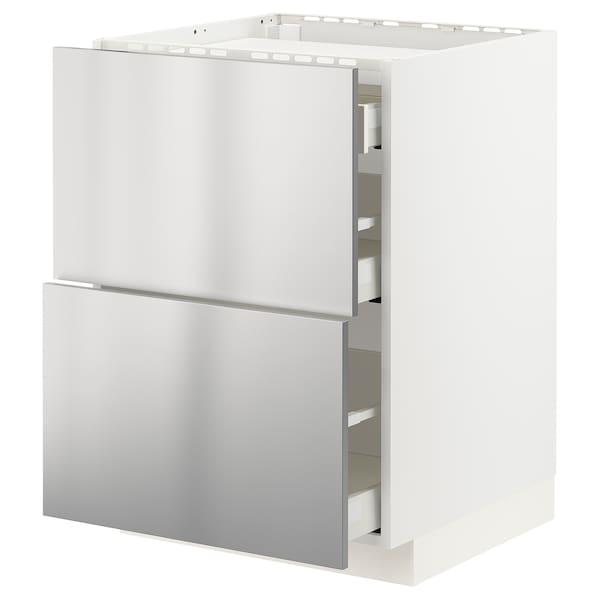 METOD / MAXIMERA Base cab f hob/2 fronts/3 drawers, white/Vårsta stainless steel, 60x60x80 cm
