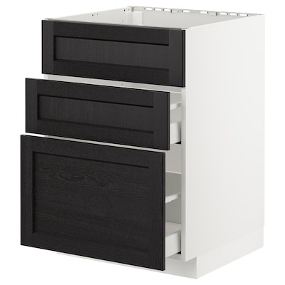 METOD / MAXIMERA Base cab f sink+3 fronts/2 drawers, white/Lerhyttan black stained, 60x60x80 cm