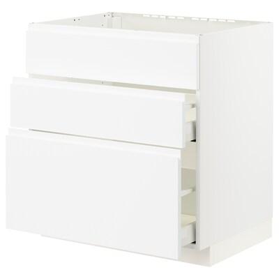 METOD / MAXIMERA Base cab f sink+3 fronts/2 drawers, white/Voxtorp matt white, 80x60x80 cm