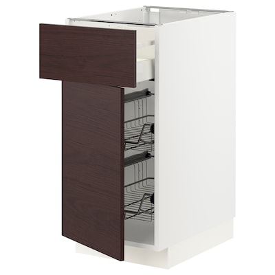 METOD / MAXIMERA Base cab w wire basket/drawer/door, white Askersund/dark brown ash effect, 40x60x80 cm