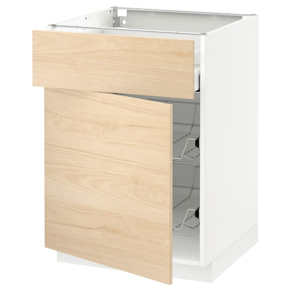 METOD / MAXIMERA Base cab w wire basket/drawer/door, white/Askersund light ash effect, 60x60x80 cm