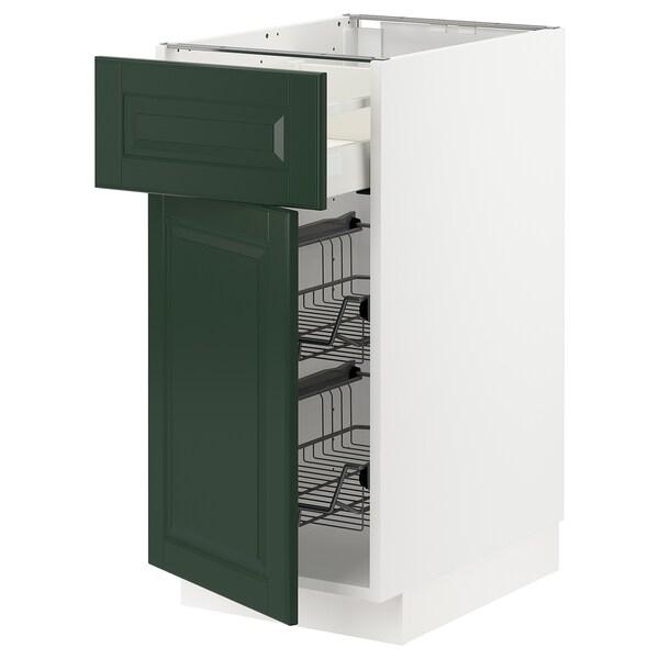 METOD / MAXIMERA Base cab w wire basket/drawer/door, white/Bodbyn dark green, 40x60x80 cm