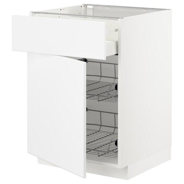 METOD / MAXIMERA Base cab w wire basket/drawer/door, white/Kungsbacka matt white, 60x60x80 cm