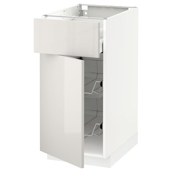 METOD / MAXIMERA Base cab w wire basket/drawer/door, white/Ringhult light grey, 40x60x80 cm