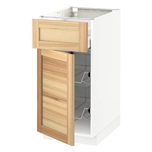 METOD / MAXIMERA Base cab w wire basket/drawer/door, white/Torhamn ash, 40x60x80 cm