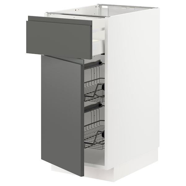 METOD / MAXIMERA Base cab w wire basket/drawer/door, white/Voxtorp dark grey, 40x60x80 cm