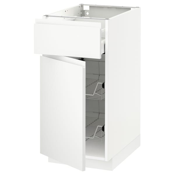 METOD / MAXIMERA Base cab w wire basket/drawer/door, white/Voxtorp matt white, 40x60x80 cm