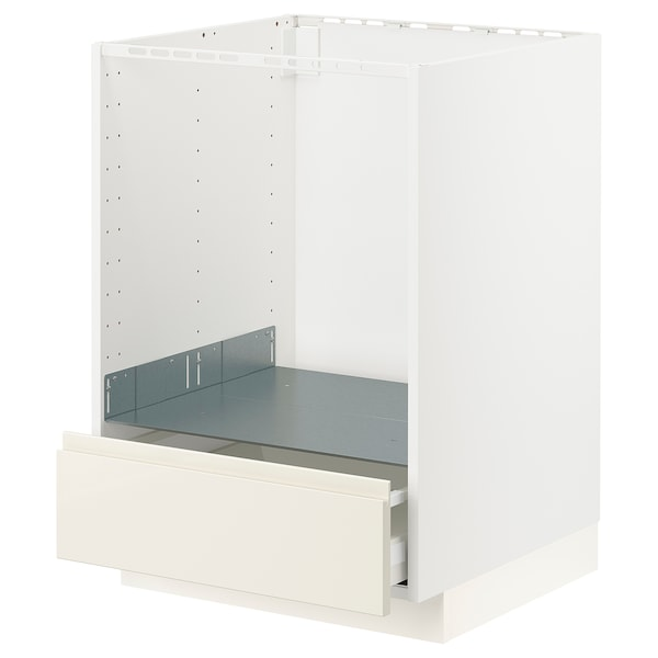 METOD / MAXIMERA Base cabinet for oven with drawer, white/Voxtorp high-gloss light beige, 60x60x80 cm