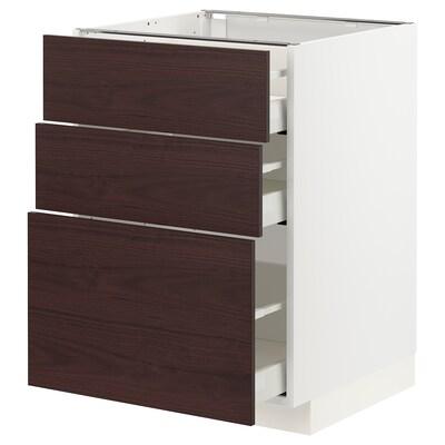 METOD / MAXIMERA Base cabinet with 3 drawers, white Askersund/dark brown ash effect, 60x60x80 cm