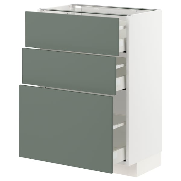 METOD / MAXIMERA Base cabinet with 3 drawers, white/Bodarp grey-green, 60x37x80 cm