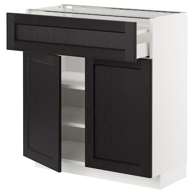 METOD / MAXIMERA Base cabinet with drawer/2 doors, white/Lerhyttan black stained, 80x37x80 cm