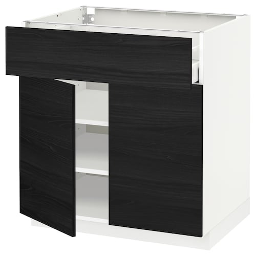 METOD / MAXIMERA base cabinet with drawer/2 doors white/Tingsryd black 80.0 cm 60 cm 61.6 cm 80.0 cm