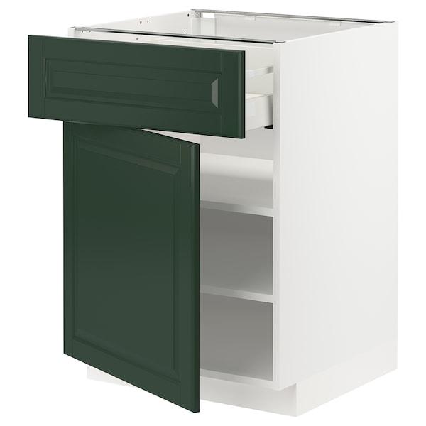 METOD / MAXIMERA Base cabinet with drawer/door, white/Bodbyn dark green, 60x60x80 cm