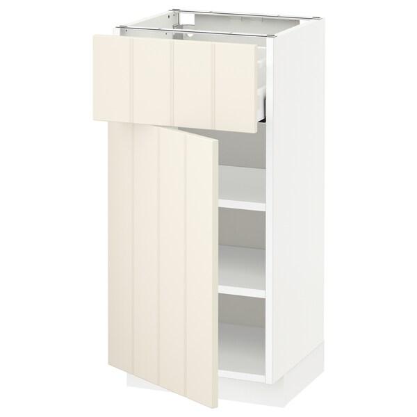 METOD / MAXIMERA Base cabinet with drawer/door, white/Hittarp off-white, 40x37x80 cm