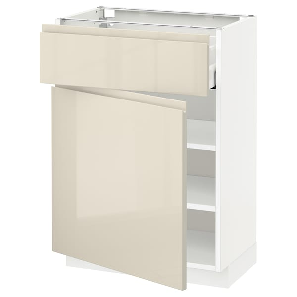 METOD / MAXIMERA Base cabinet with drawer/door, white/Voxtorp high-gloss light beige, 60x37x80 cm