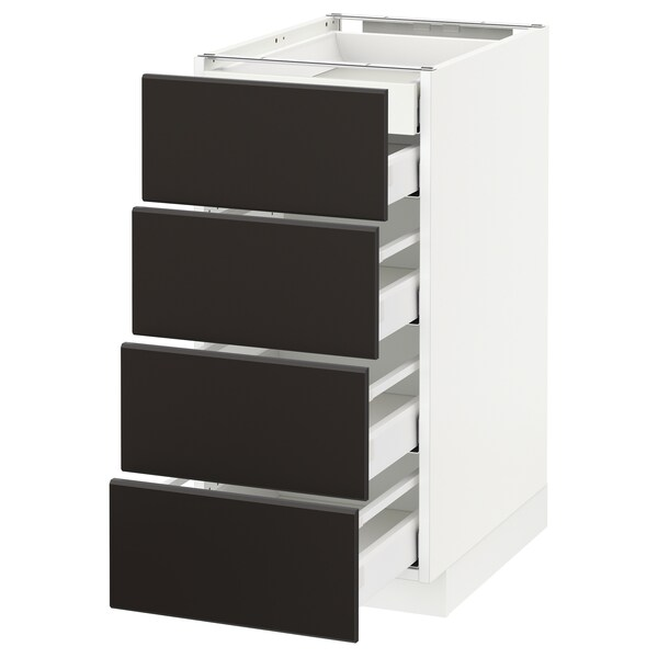 METOD / MAXIMERA Base cb 4 frnts/2 low/3 md drwrs, white/Kungsbacka anthracite, 40x60x80 cm