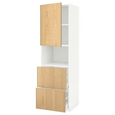 METOD / MAXIMERA Hi cab f micro w door/2 drawers, white/Ekestad oak, 60x60x200 cm