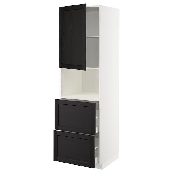 METOD / MAXIMERA Hi cab f micro w door/2 drawers, white/Lerhyttan black stained, 60x60x200 cm