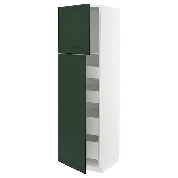 METOD / MAXIMERA Hi cab w 2 doors/4 drawers, white/Bodbyn dark green, 60x60x200 cm