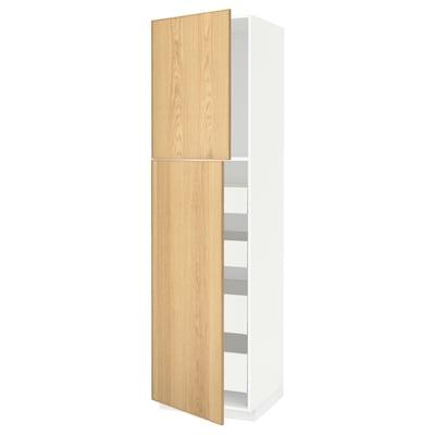 METOD / MAXIMERA Hi cab w 2 doors/4 drawers, white/Ekestad oak, 60x60x220 cm