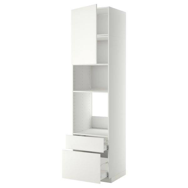 METOD / MAXIMERA High cab f oven/micro w dr/2 drwrs, white/Häggeby white, 60x60x240 cm