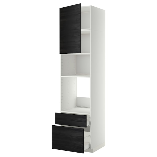 METOD / MAXIMERA High cab f oven/micro w dr/2 drwrs, white/Tingsryd black, 60x60x240 cm