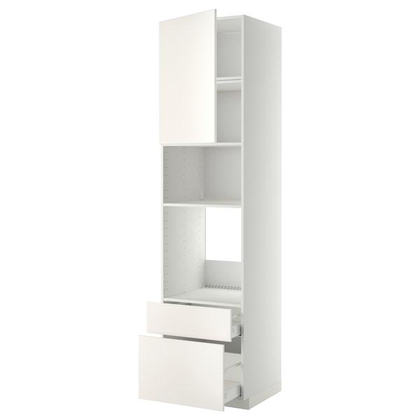 METOD / MAXIMERA High cab f oven/micro w dr/2 drwrs, white/Veddinge white, 60x60x240 cm