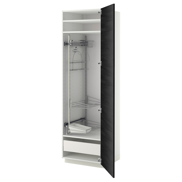 METOD / MAXIMERA High cabinet with cleaning interior, white/Tingsryd black, 60x60x200 cm