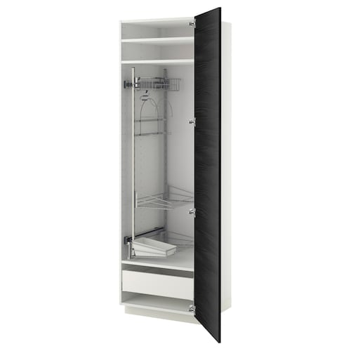 METOD / MAXIMERA high cabinet with cleaning interior white/Tingsryd black 60.0 cm 61.6 cm 208.0 cm 60.0 cm 200.0 cm