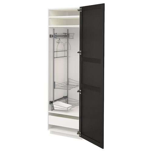 METOD / MAXIMERA high cabinet with cleaning interior white/Lerhyttan black stained 60.0 cm 61.9 cm 208.0 cm 60.0 cm 200.0 cm