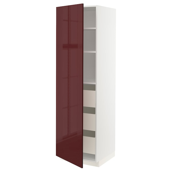 METOD / MAXIMERA High cabinet with drawers, white Kallarp/high-gloss dark red-brown, 60x60x200 cm