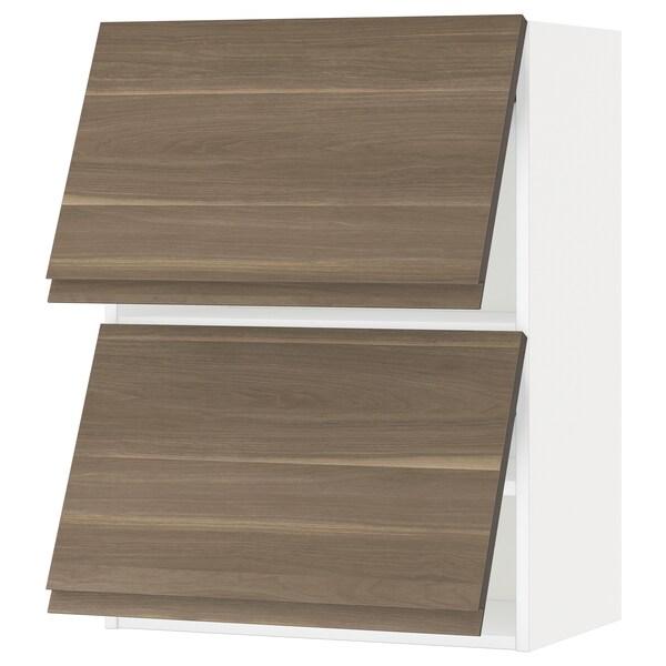 METOD Wall cab horizo 2 doors w push-open, white/Voxtorp walnut effect, 60x37x80 cm