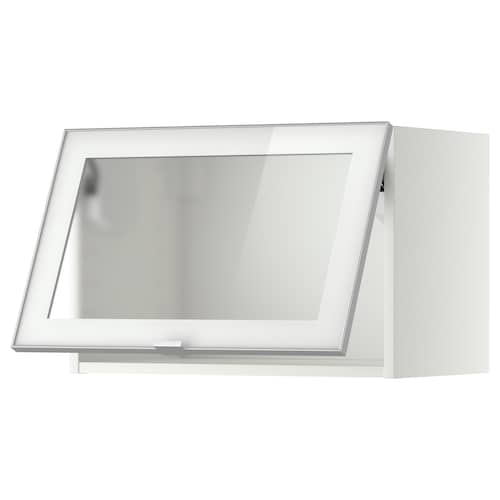 METOD wall cab horizontal w glass door white/Jutis frosted glass 60.0 cm 37 cm 38.8 cm 40.0 cm