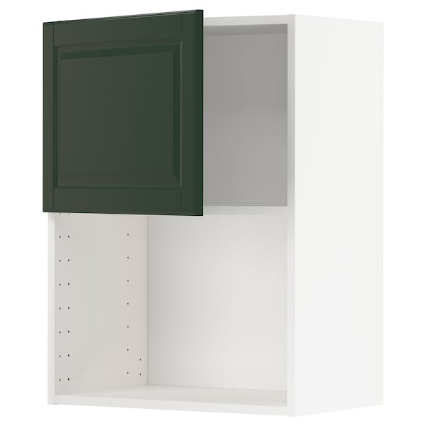 METOD Wall cabinet for microwave oven, white/Bodbyn dark green, 60x37x80 cm