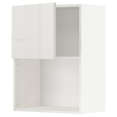 METOD Wall cabinet for microwave oven, white/Ringhult light grey, 60x37x80 cm