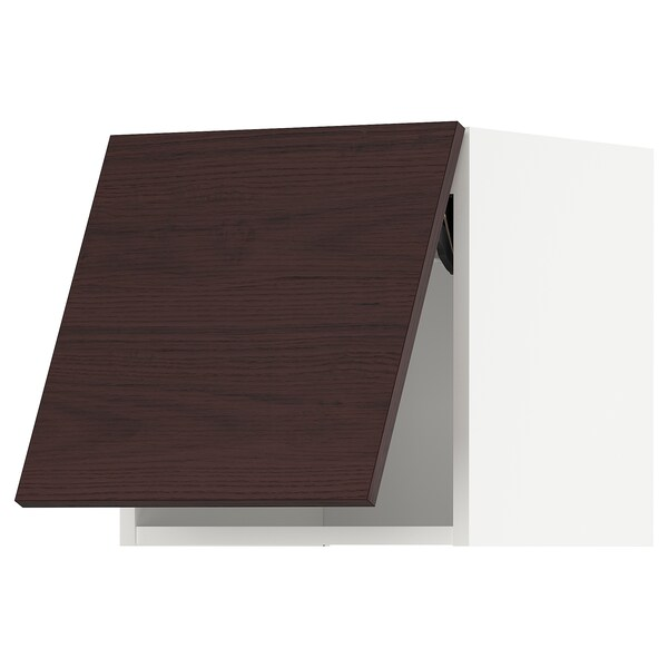METOD Wall cabinet horizontal w push-open, white Askersund/dark brown ash effect, 40x37x40 cm