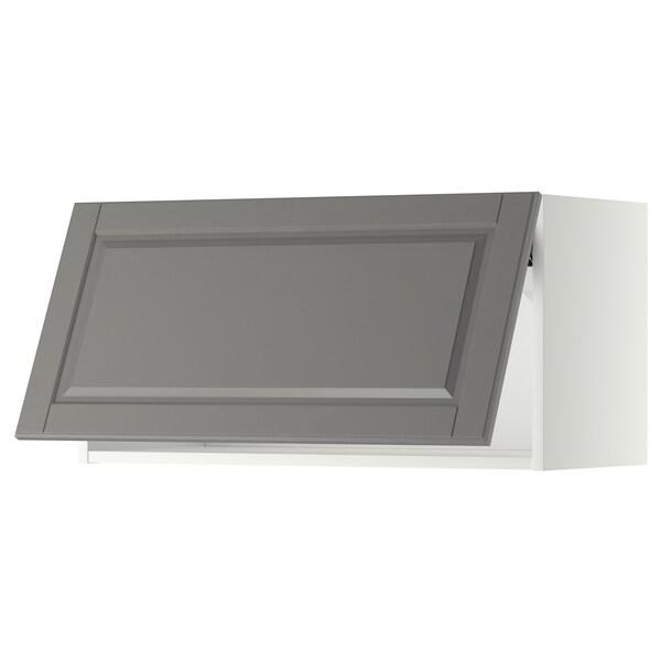 METOD Wall cabinet horizontal w push-open, white/Bodbyn grey, 80x37x40 cm
