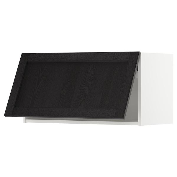 METOD Wall cabinet horizontal w push-open, white/Lerhyttan black stained, 80x37x40 cm