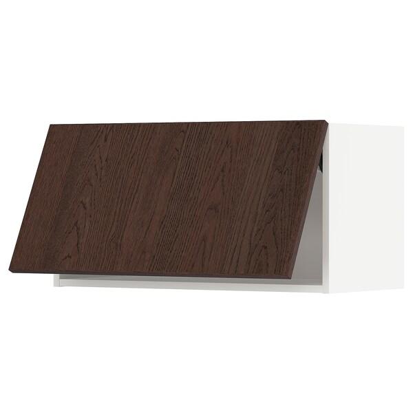 METOD Wall cabinet horizontal w push-open, white/Sinarp brown, 80x37x40 cm